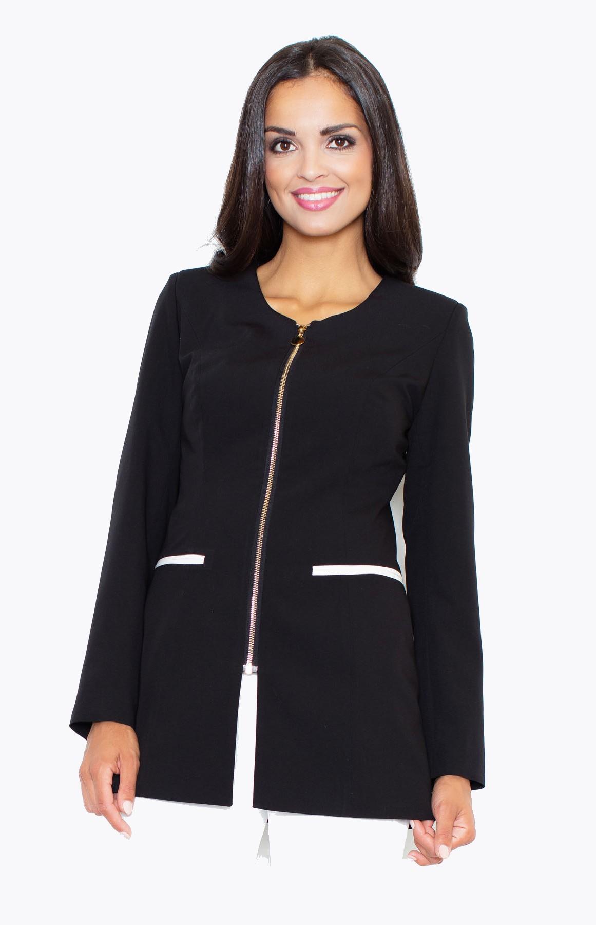 veste femme zipp e noire flm409n idresstocode boutique de d shabill s et nuisettes robes et. Black Bedroom Furniture Sets. Home Design Ideas