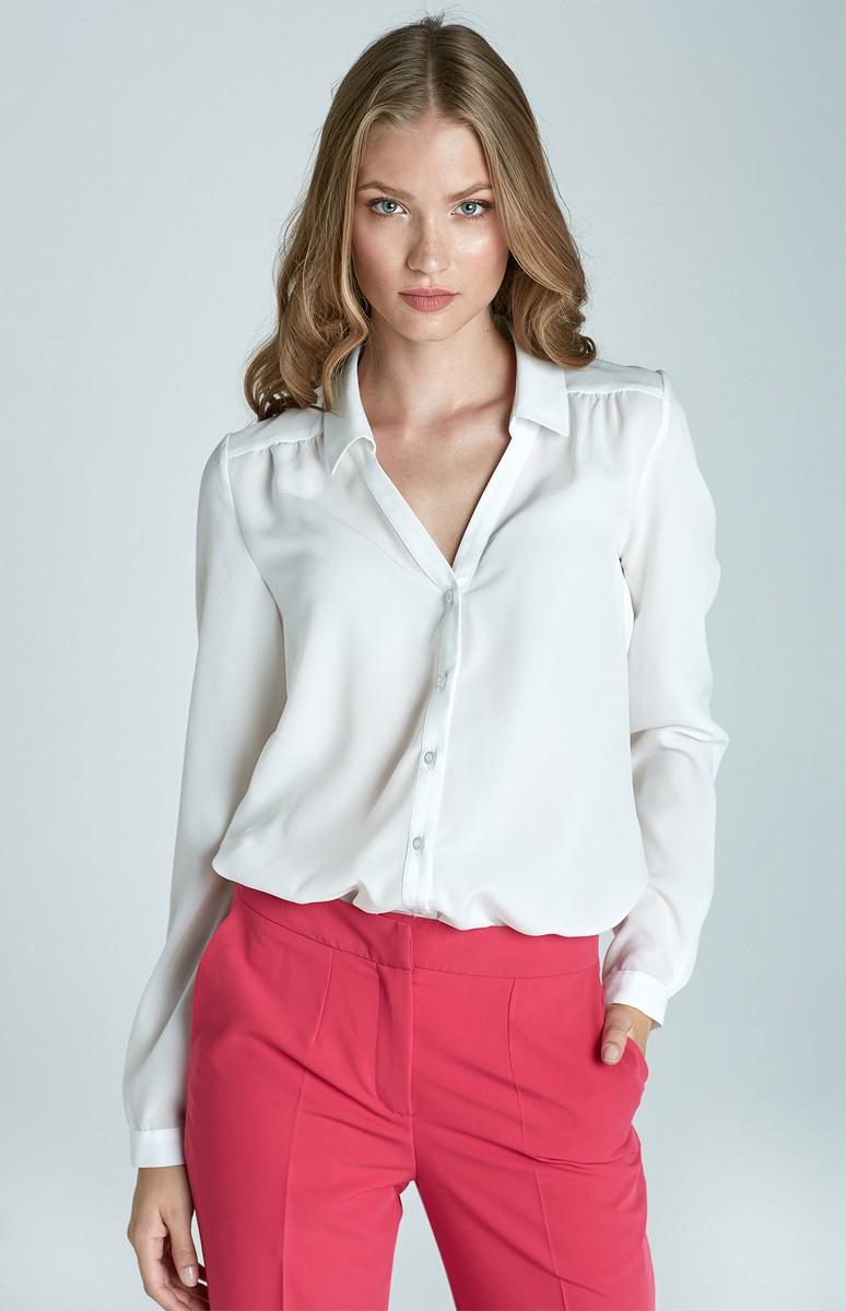 Chemisier blanc col v nib57b idresstocode boutique de d shabill s et nuisettes robes et jupes for Chemisier blanc femme chic