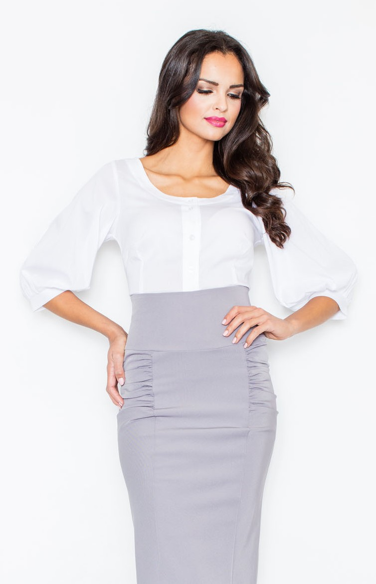 blouse col rond blanc fl0294 idresstocode boutique de d shabill s et nuisettes robes et jupes. Black Bedroom Furniture Sets. Home Design Ideas