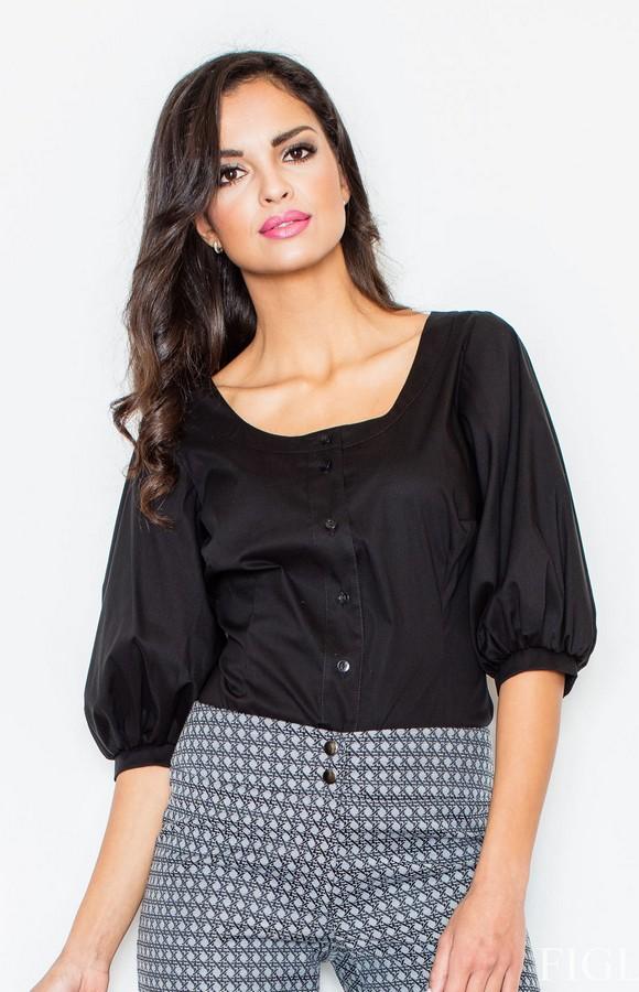 blouse col rond noire fl0291 idresstocode boutique de d shabill s et nuisettes robes et jupes. Black Bedroom Furniture Sets. Home Design Ideas
