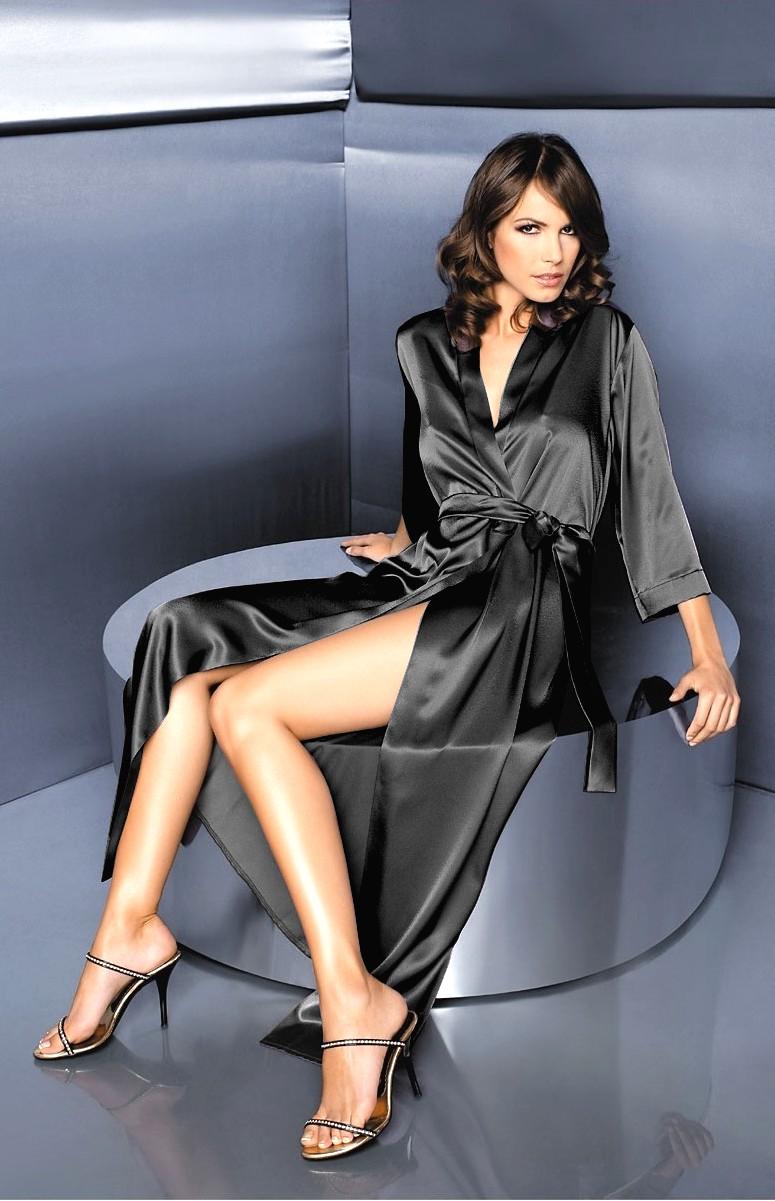 Robe de chambre longue en soie femme