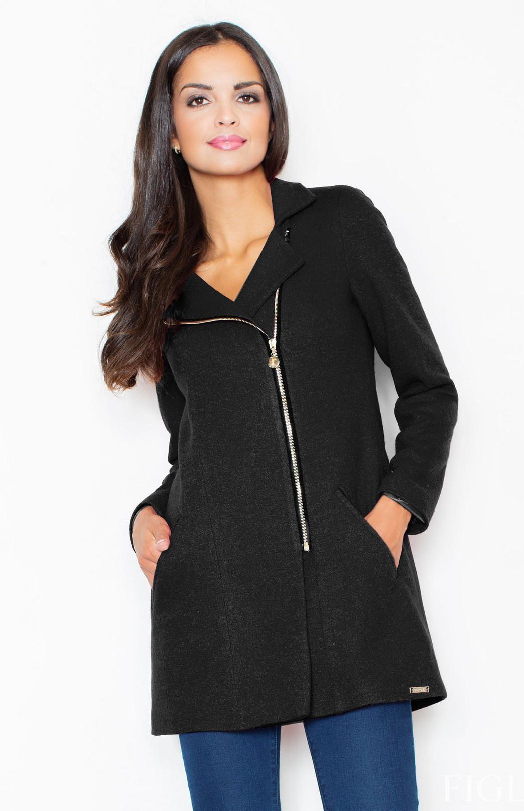 manteau trois quart zipp noir flm405n idresstocode boutique de d shabill s et nuisettes. Black Bedroom Furniture Sets. Home Design Ideas
