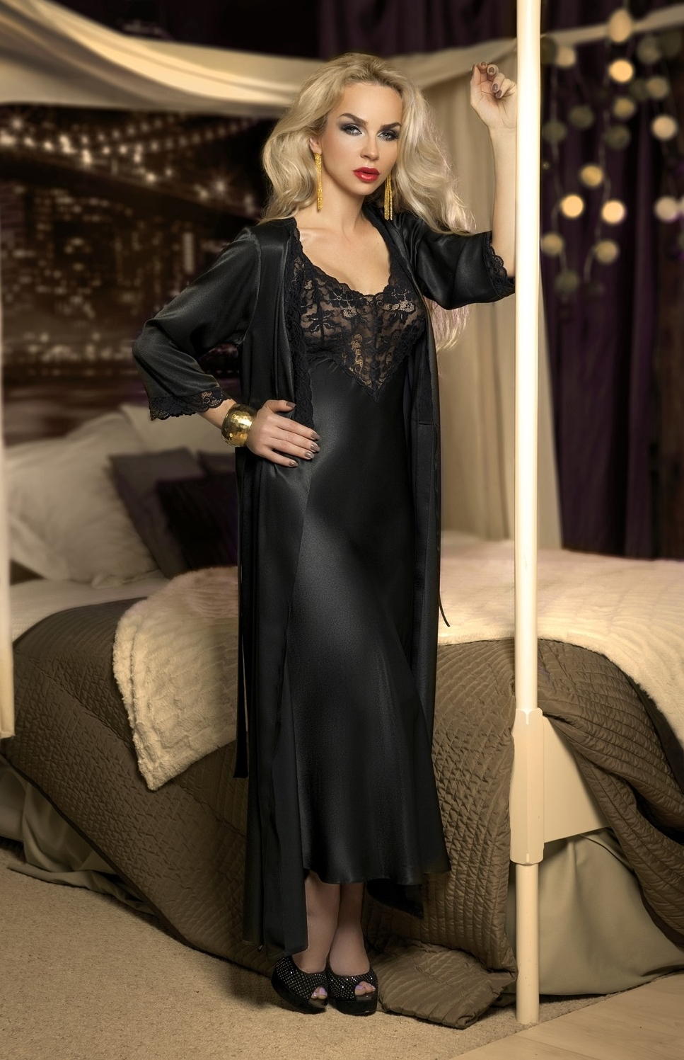 long black satin and lace nightgown vicky w00958 idresstocode online boutique of negligee and. Black Bedroom Furniture Sets. Home Design Ideas