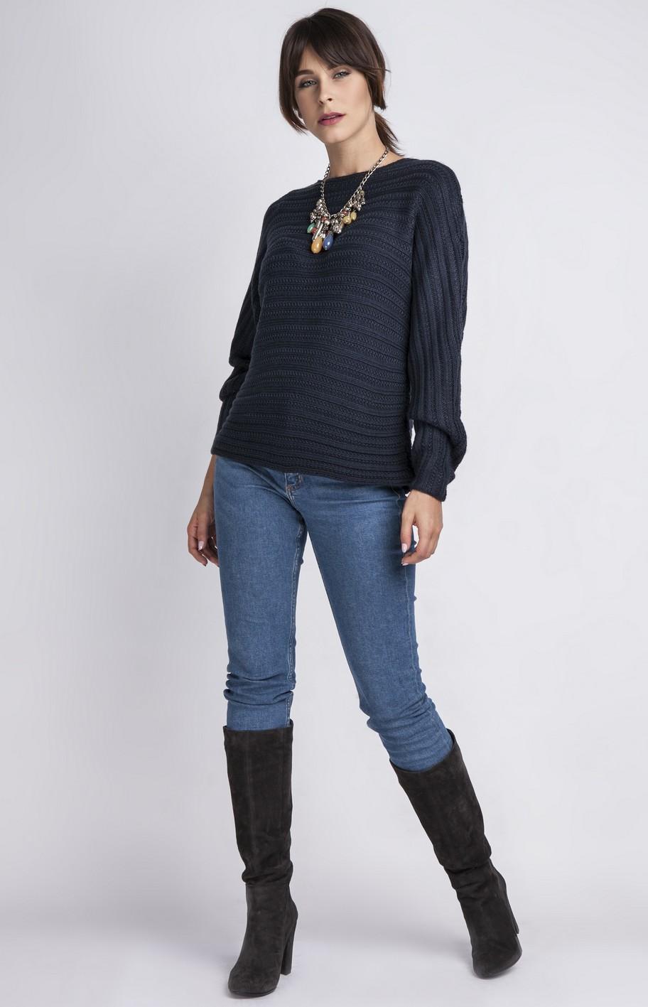 pullover femme bleu marine mkm mkswe089bm idresstocode boutique de d shabill s et nuisettes. Black Bedroom Furniture Sets. Home Design Ideas