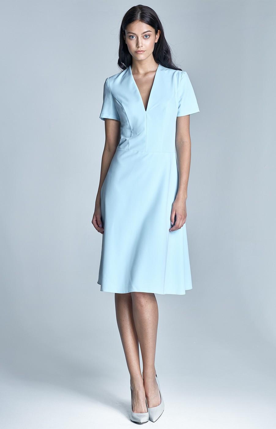 robe vas e manches courtes bleu pastel nis71bp idresstocode boutique de d shabill s et. Black Bedroom Furniture Sets. Home Design Ideas