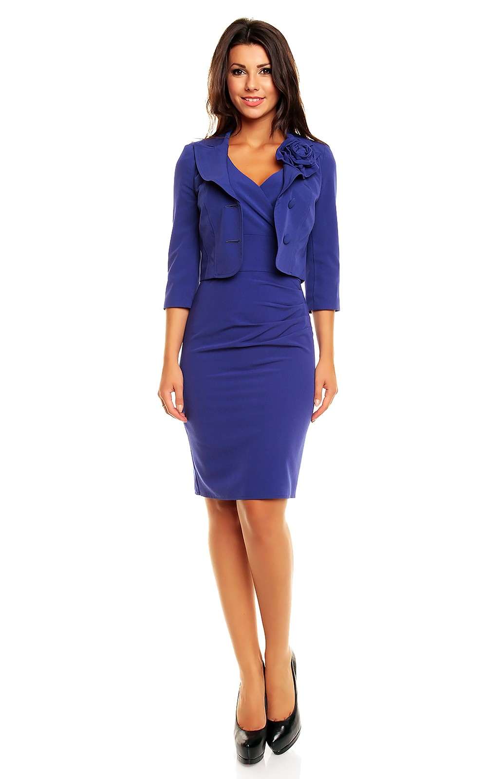 tailleur robe bleu km km162b idresstocode boutique de d shabill s et nuisettes robes et jupes. Black Bedroom Furniture Sets. Home Design Ideas