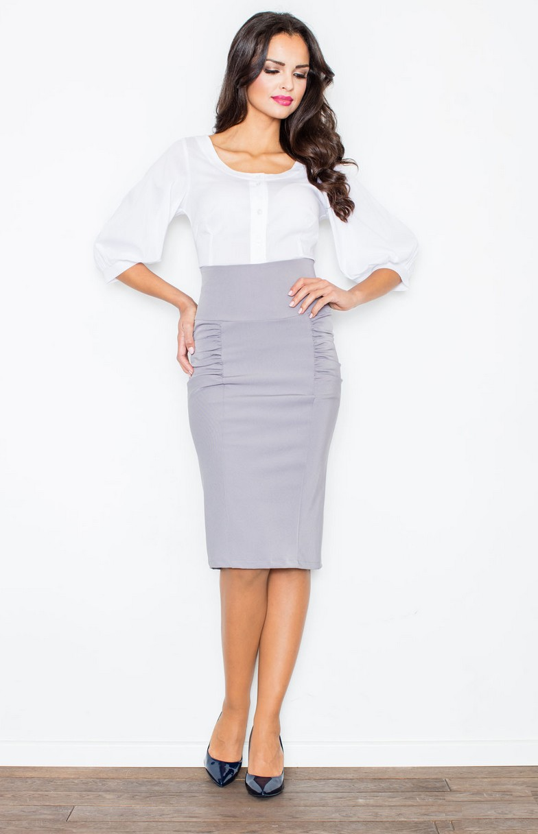 Grey high waisted pencil skirt FL0442G : idresstocode: online ...