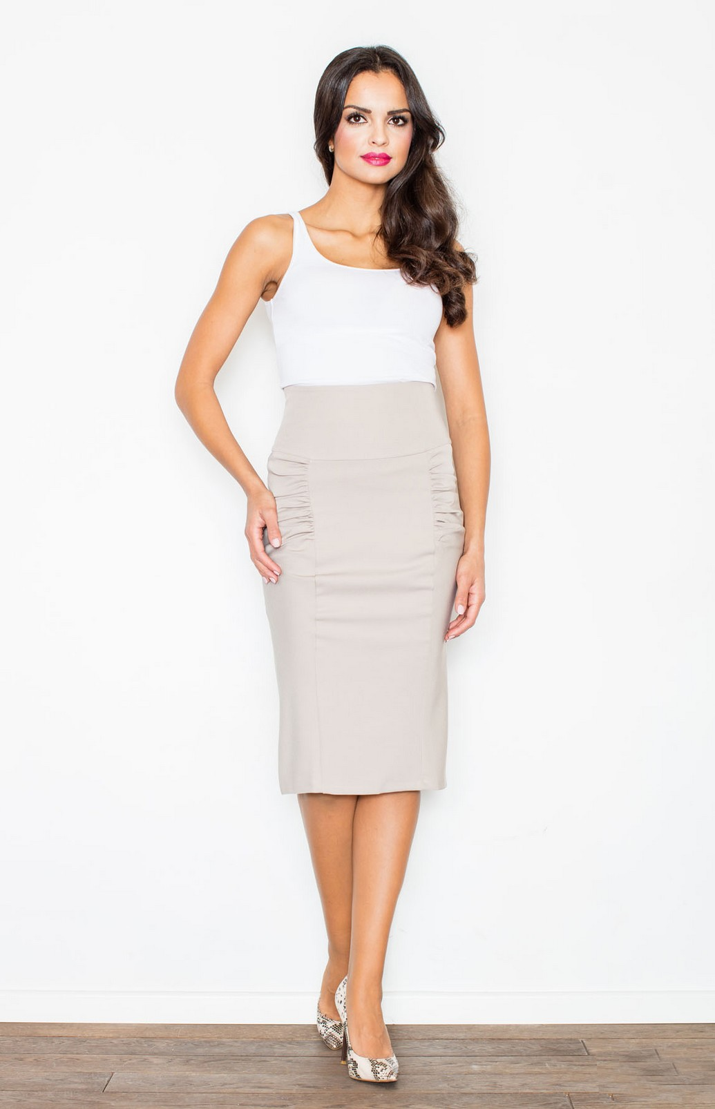 Beige high waisted pencil skirt FL0442 : idresstocode: online ...