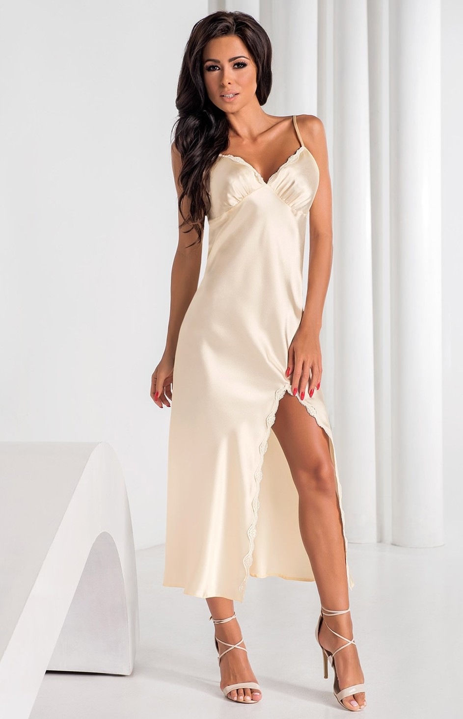 Long cream satin nightgown Arabella Iral IR-ARA-E : idresstocode ...