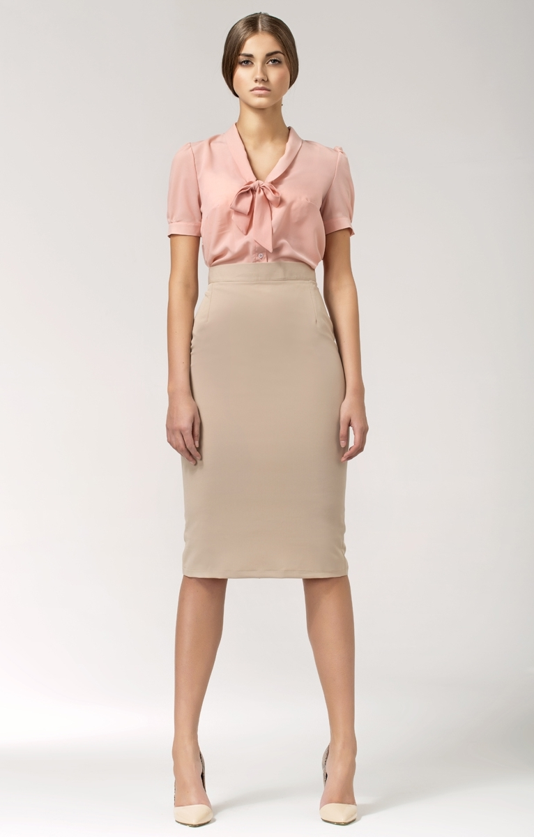 Pink nude tie neck blouse NIB26P : idresstocode: online boutique ...