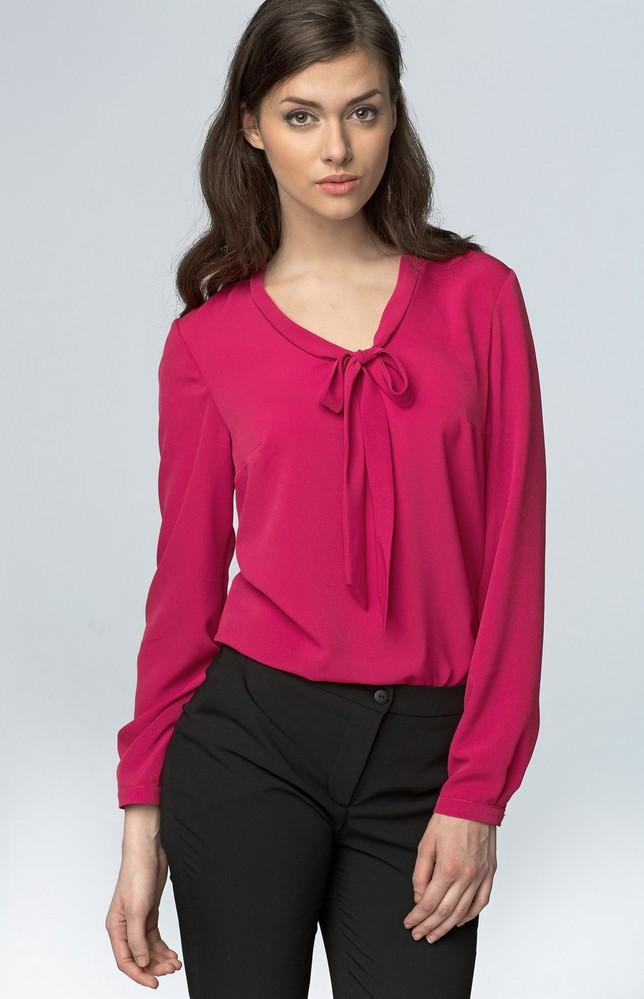 blouse col lavallière rose fuchsia nib56f : idresstocode: boutique