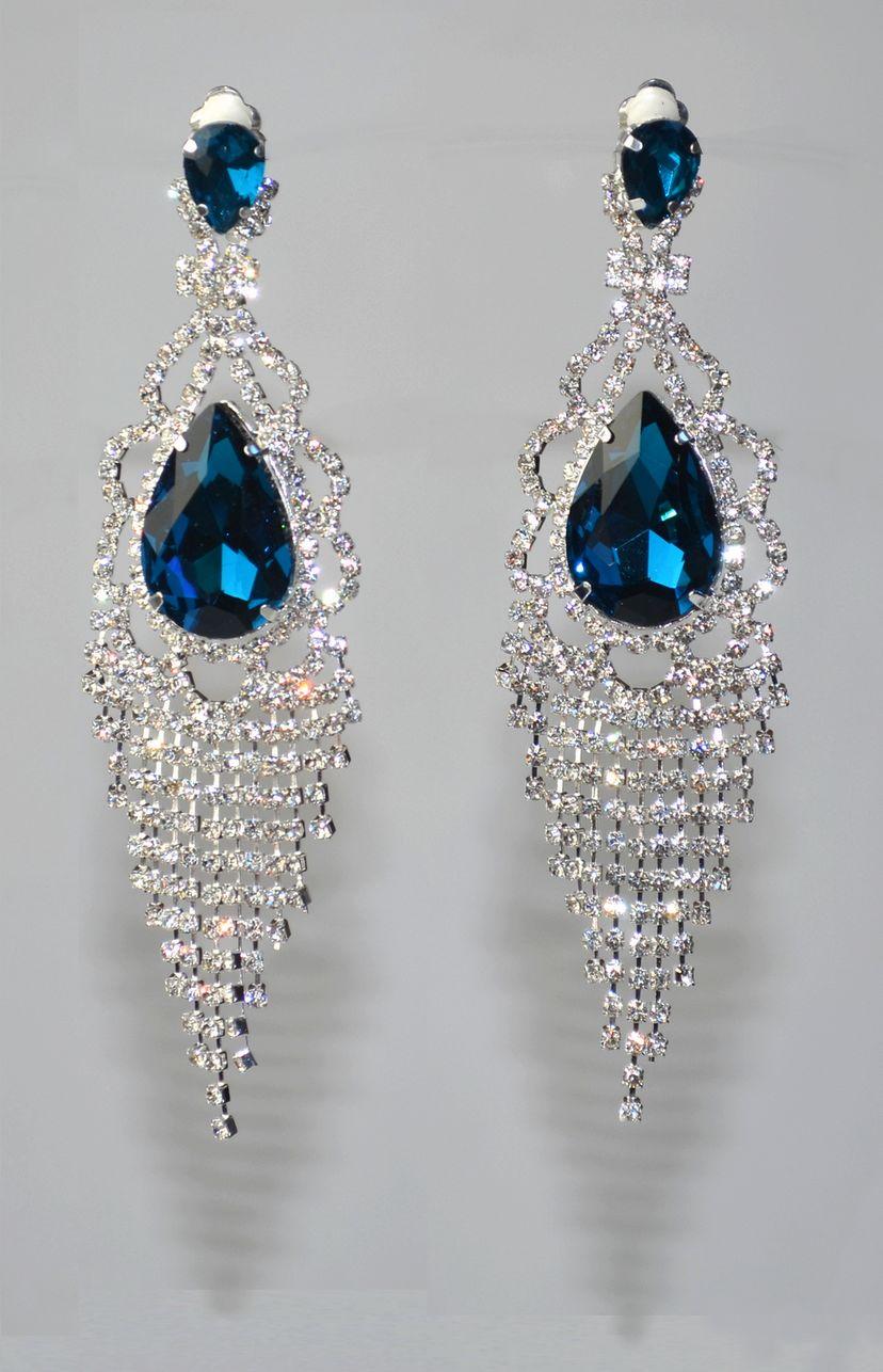 boucle d'oreille clip bleu