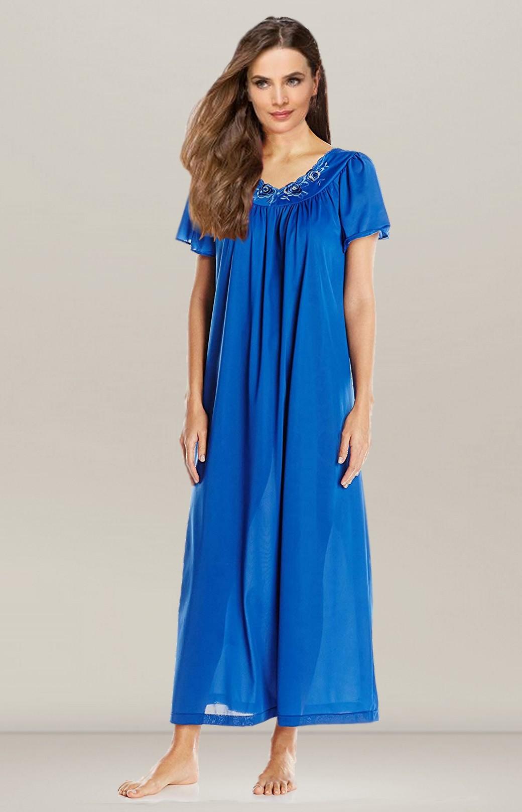 pas cher outlet à vendre haut de gamme véritable Chemise de nuit manches courtes bleu marine Flora