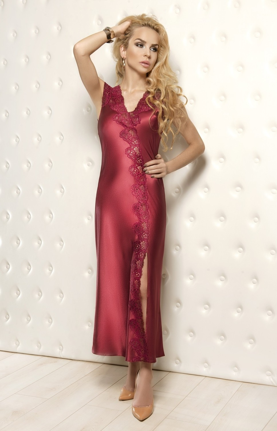 long burgundy satin nightgown salom w00929b idresstocode online boutique of negligee and. Black Bedroom Furniture Sets. Home Design Ideas