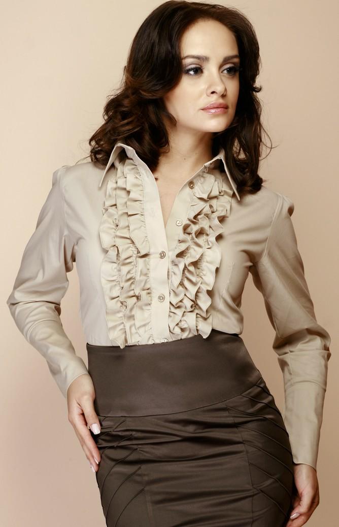 Beige Long Sleeve Frilled Blouse Fl012b Idresstocode Online