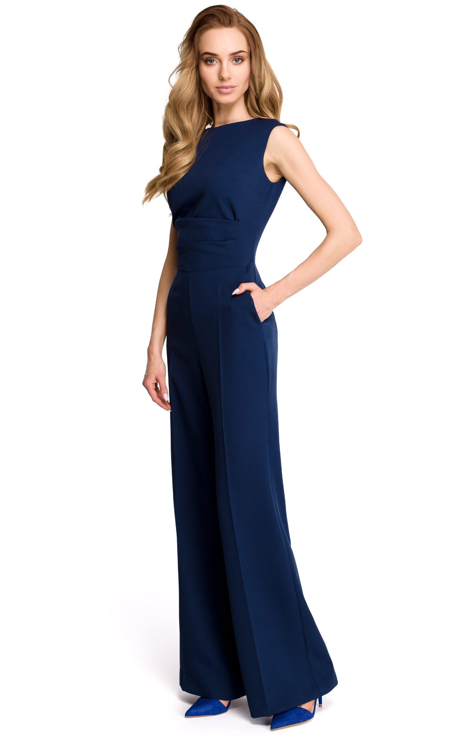 Blue Dressy Plus Jumpsuit: Navy Blue Draped Jumpsuit Style S115BM : Idresstocode