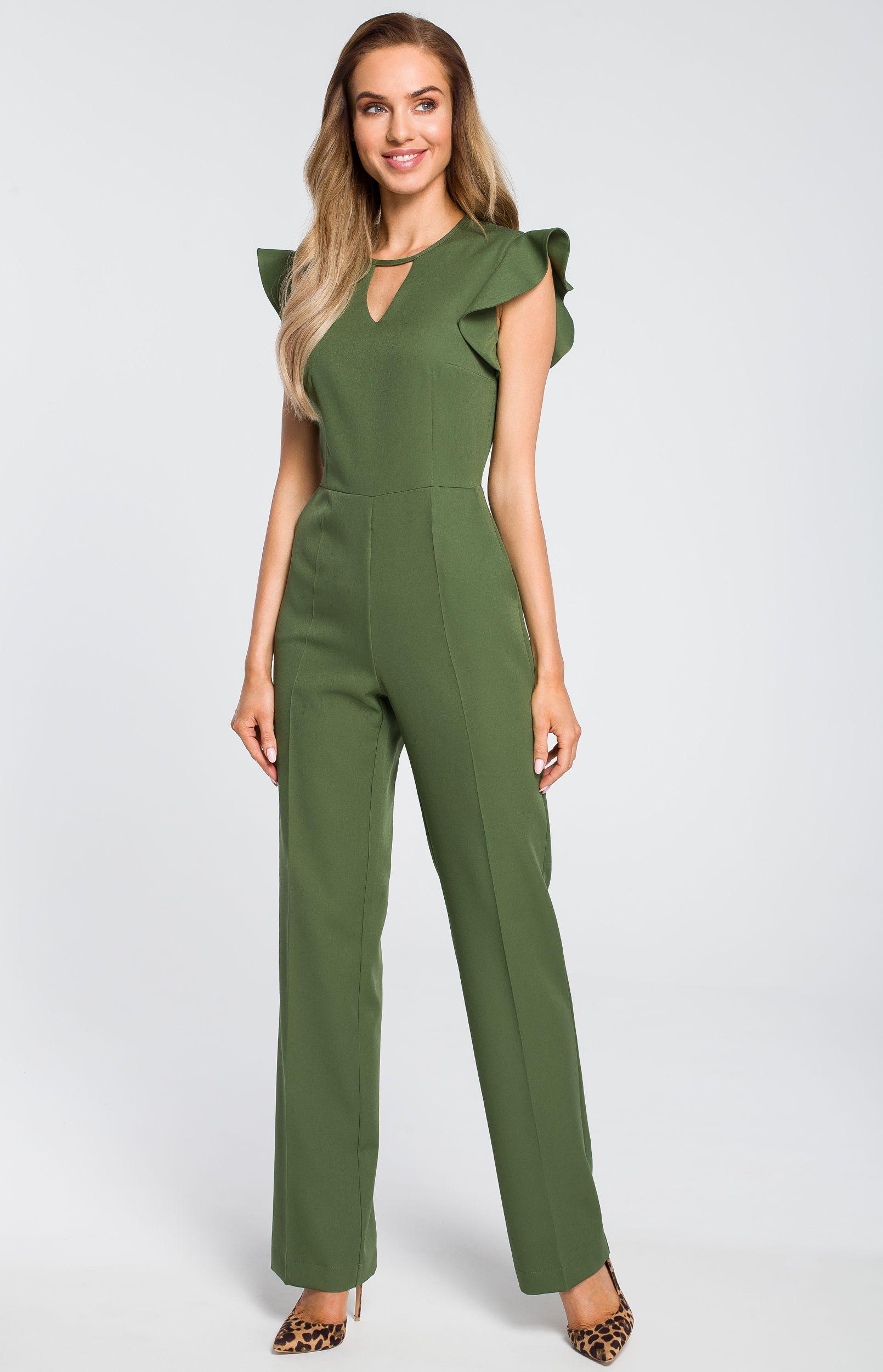 Combinaison Pantalon Manches Olive Volantées Vert 3A5Lj4R