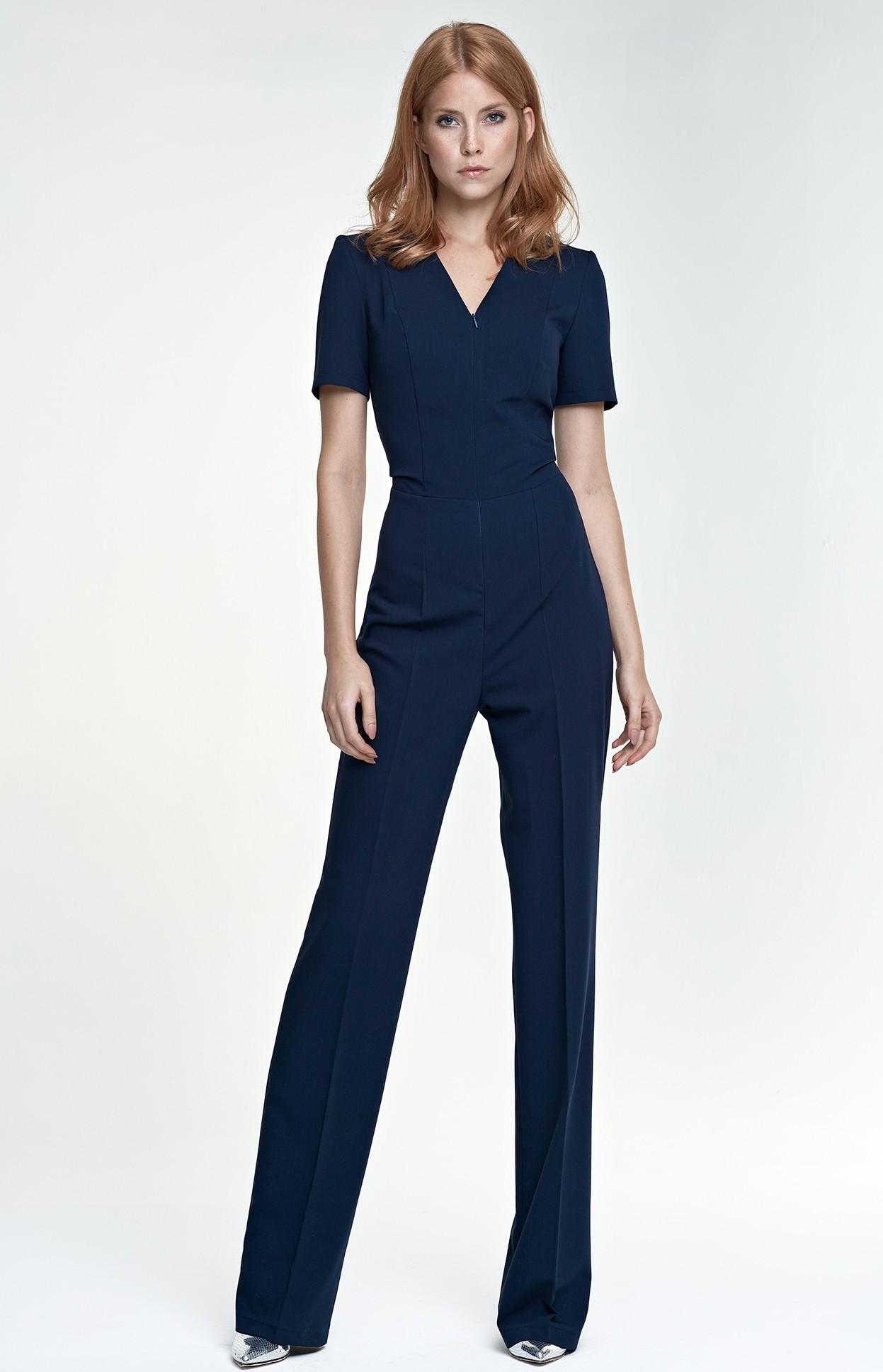 Combinaison pantalon zippée bleu marine NIK04BM   idresstocode ... 301fb8014a4