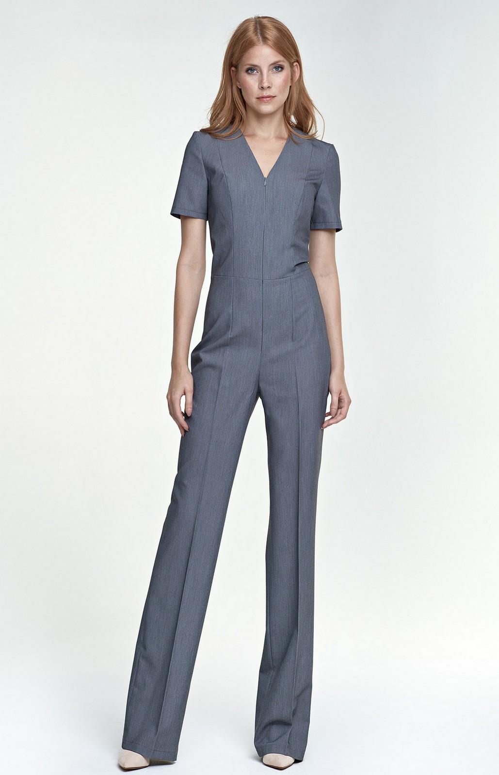Combinaison pantalon zipp e grise nik04g idresstocode boutique de d shabill s et nuisettes - Combinaison pantalon femme chic ...