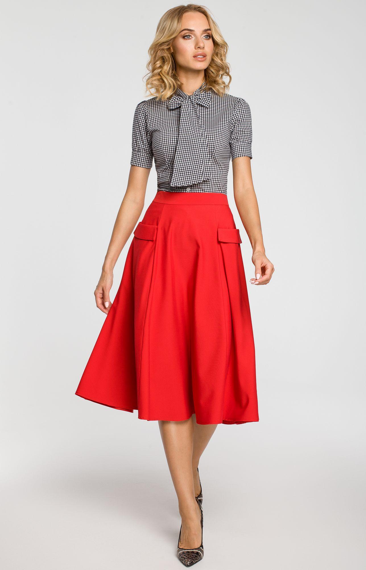 e0c68920f1ad Jupe rouge jupe mi longue taille haute