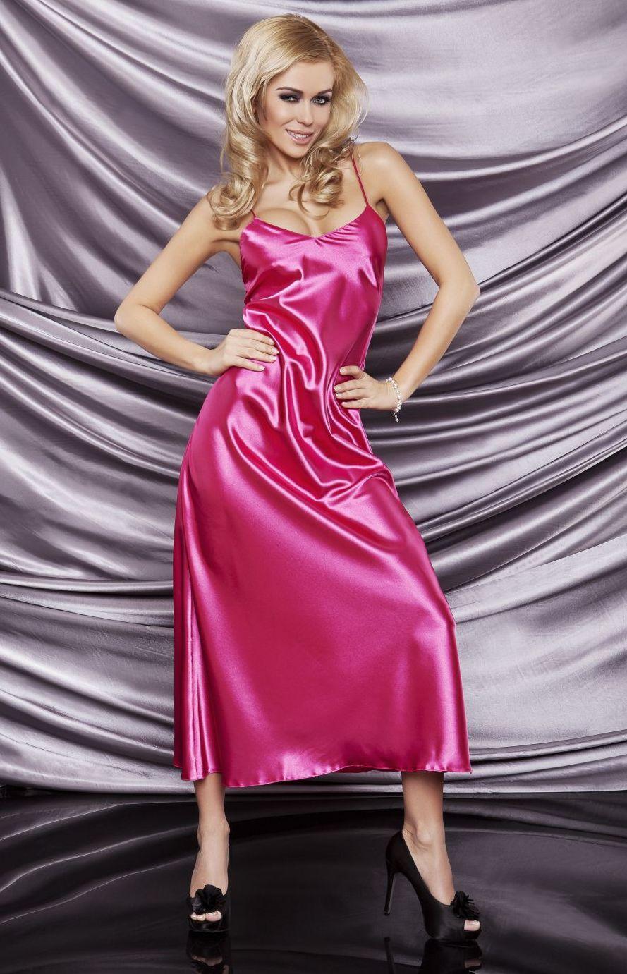 Long pink satin nightgown Iga DK-IGA-RO : idresstocode: online ...