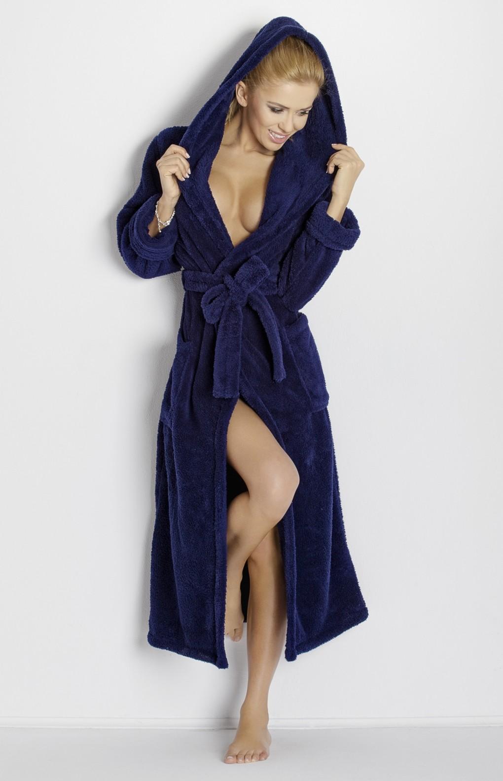 peignoir ponge long capuche bleu marine diana dk dian bm idresstocode boutique de. Black Bedroom Furniture Sets. Home Design Ideas
