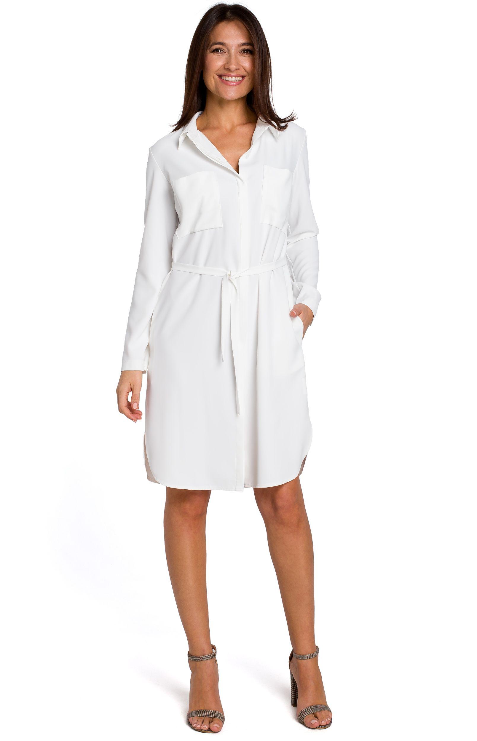493a9708da5 Robe chemise écru Style S145E   idresstocode  boutique de ...