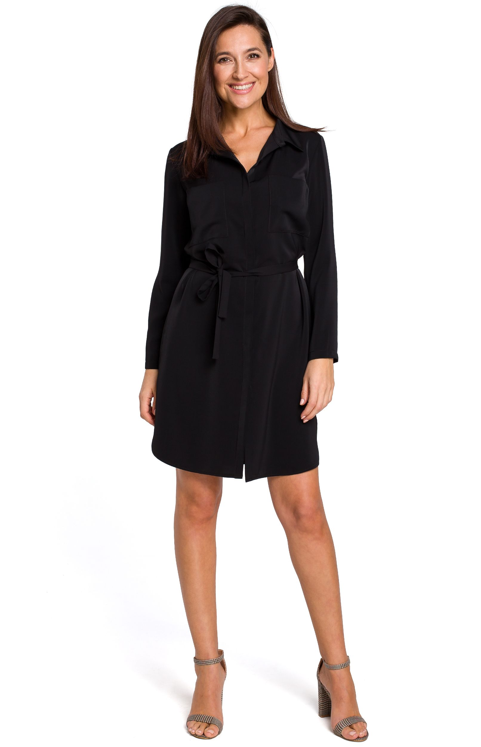 55be96d2764 Robe chemise noire Style S145N   idresstocode  boutique de ...
