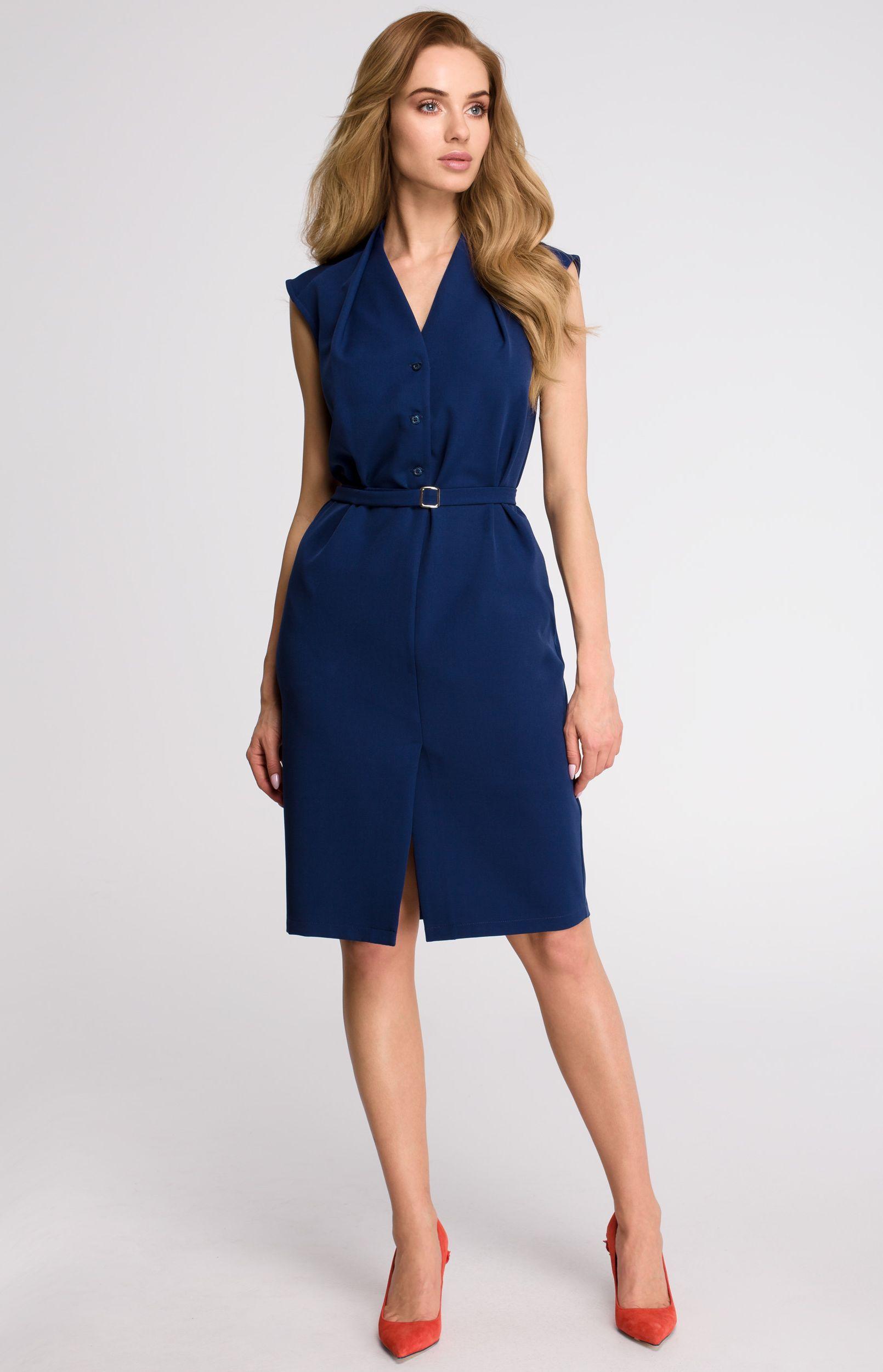 127cd3608a7 Robe chemise sans manches bleu marine Style S102BM   idresstocode ...