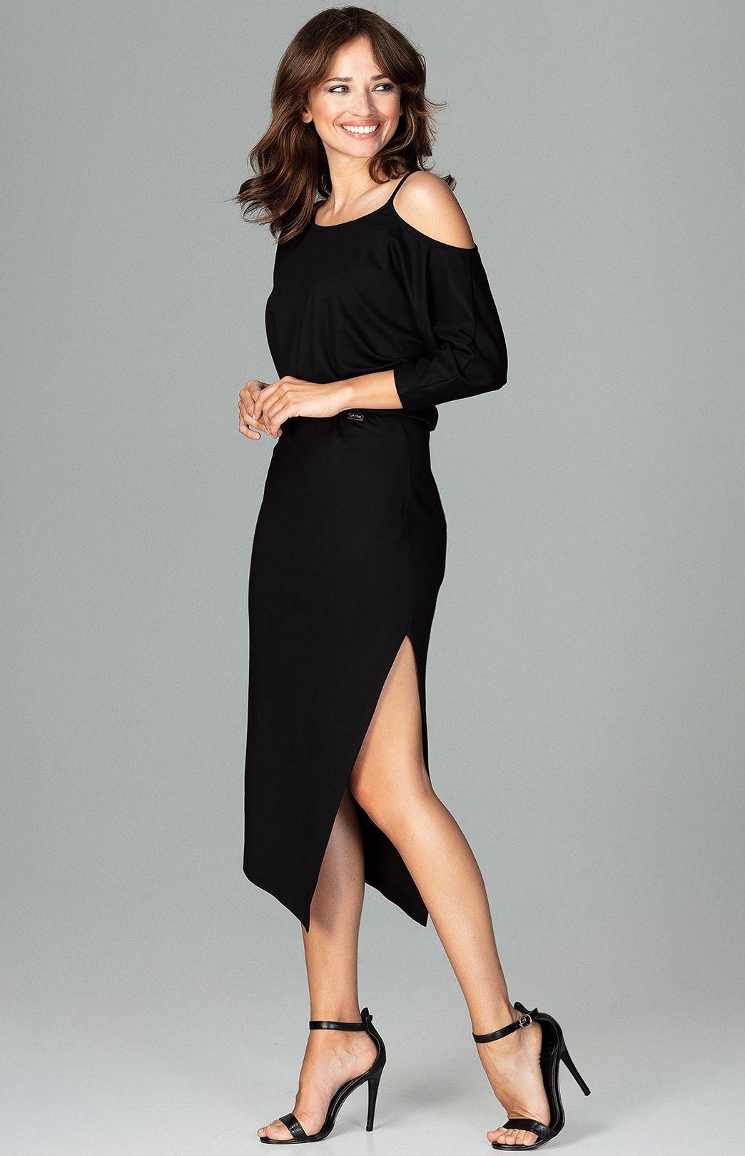 Robe Tango Asymetrique Noire Flk479n Idresstocode Boutique De Deshabilles Et Nuisettes Robes Et Jupes