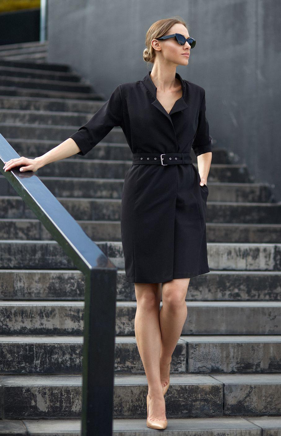 Robe droite blazer noire Style S120N   idresstocode  boutique de ... 83b1288e651f