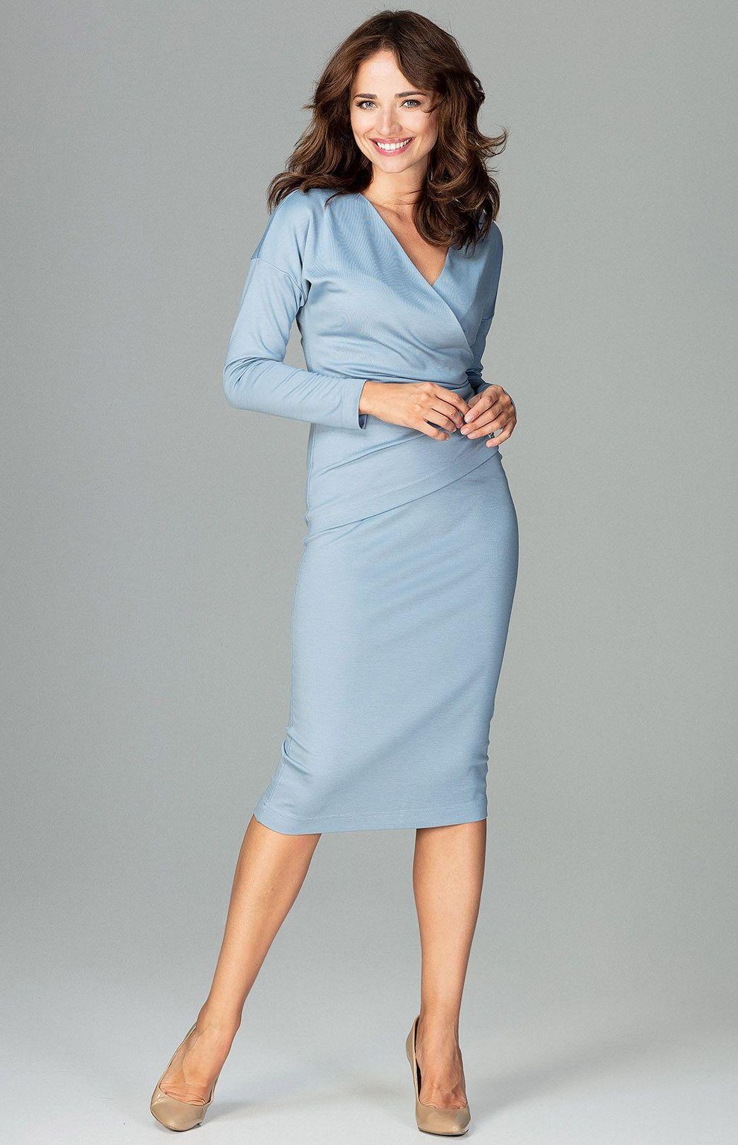 a802ce43829 Robe droite drapée bleu clair FLK477BC   idresstocode  boutique de ...