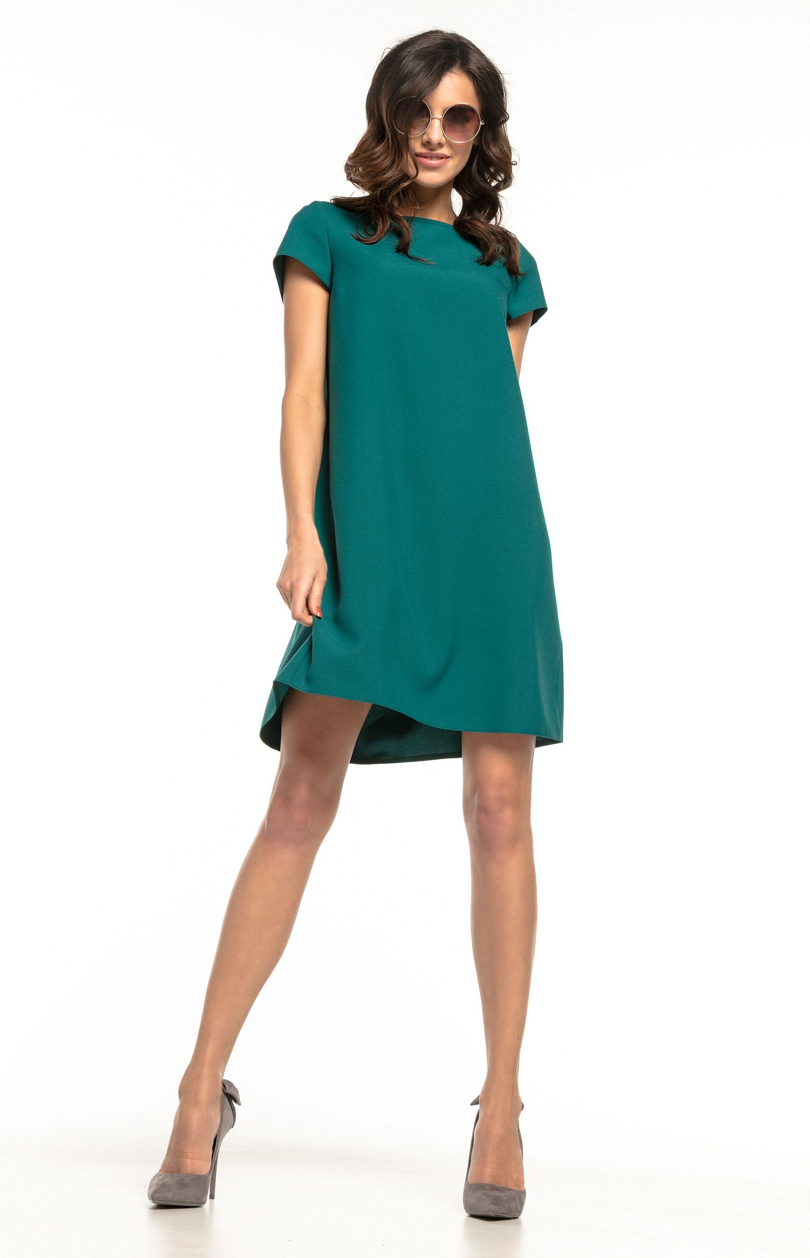 bbcf8f53f7c Robe ample courte verte Tess T261V   idresstocode  boutique de ...