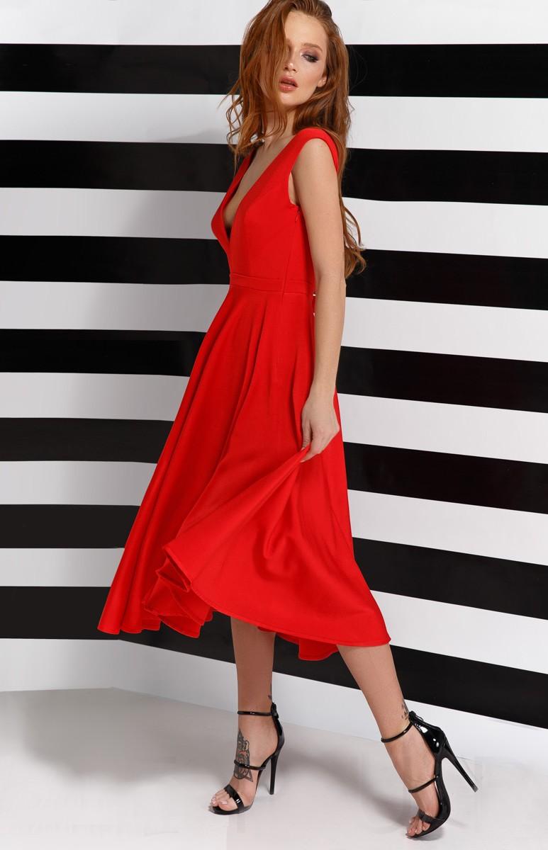 Red plunging neckline flared dress ge25771 idresstocode for Robe rouge évasée