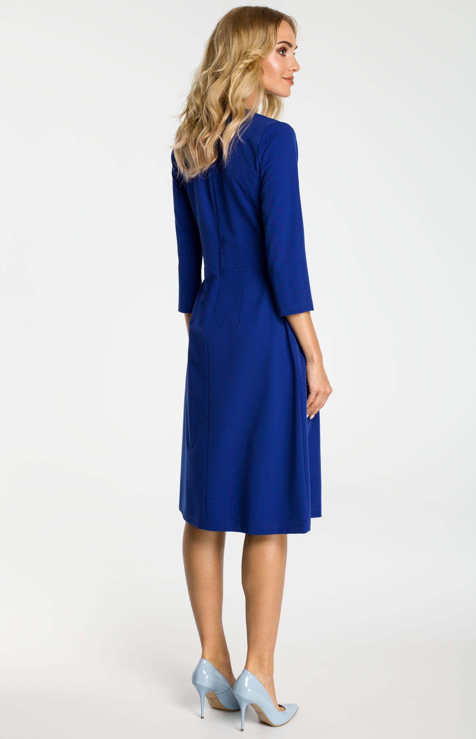 a89a6f85bc5 Robe plissée bleue manches 3 4 ME335B   idresstocode  boutique de  déshabillés et nuisettes