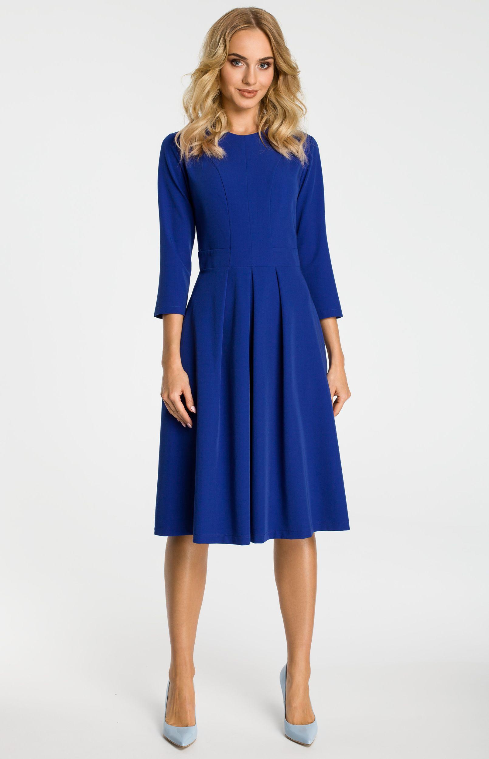 4d6b2f5a29a Robe plissée bleue manches 3 4 ME335B   idresstocode  boutique de ...