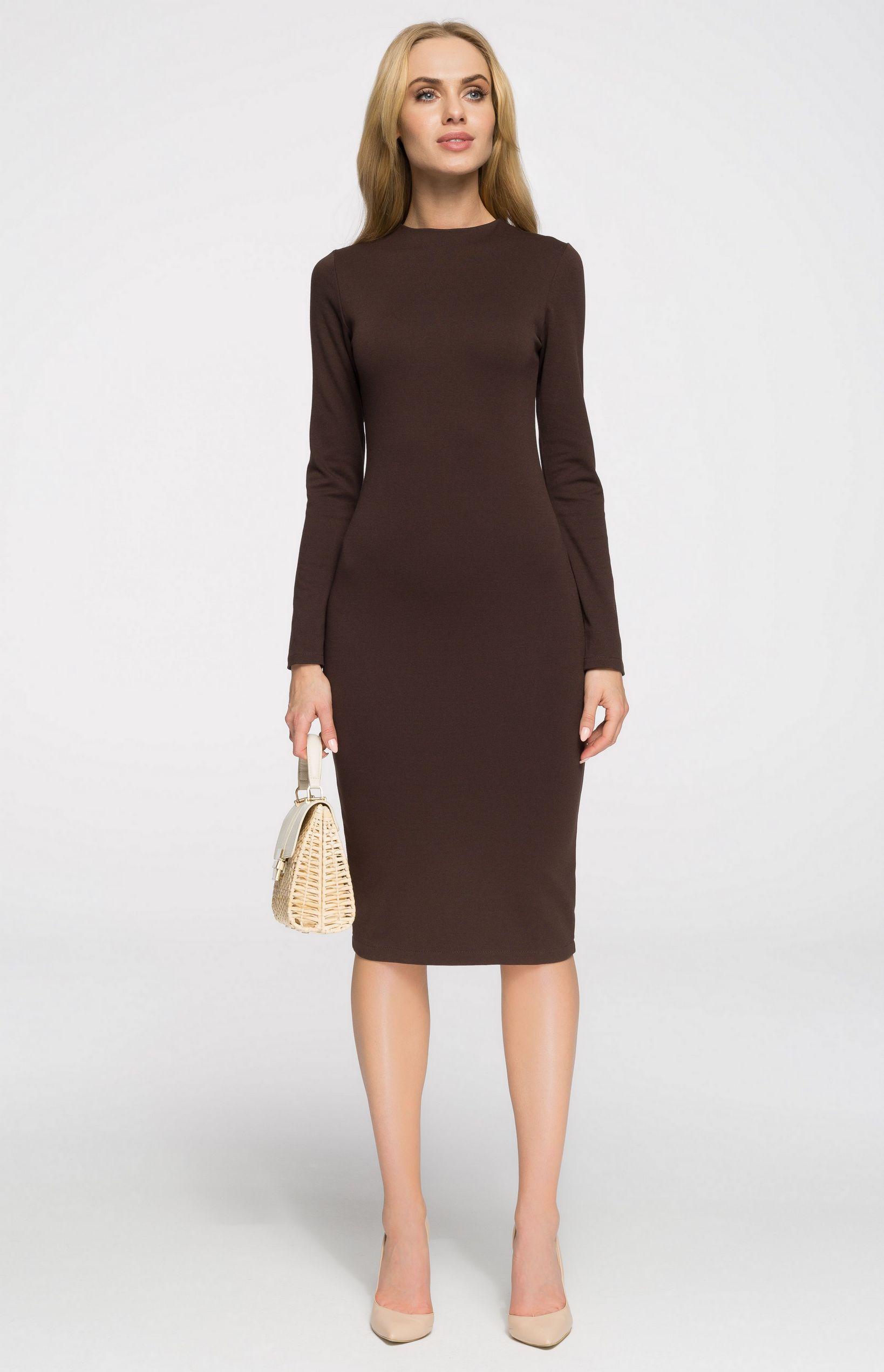 b99cab703ad Robe fourreau cosy marron Style S033M   idresstocode  boutique de ...