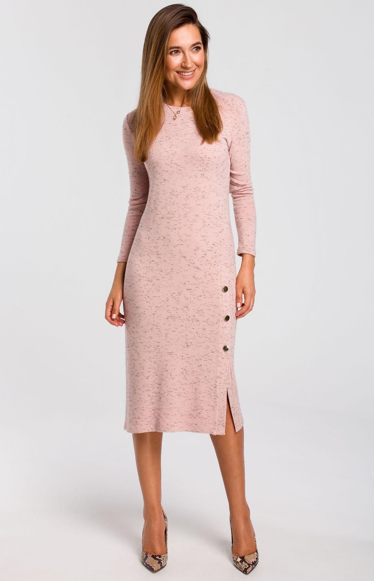 prix pas cher matériaux de haute qualité Prix 50% Robe pull droite fendue rose