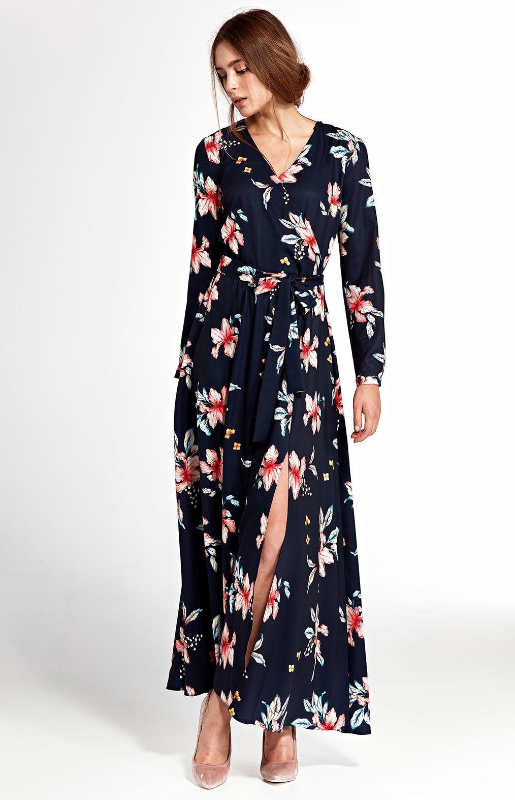 Robe longue noir fleurs bleu