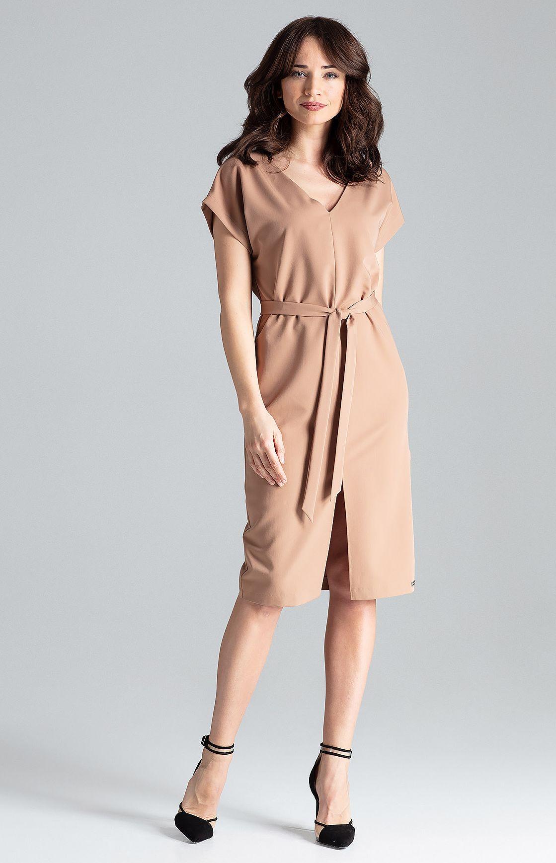 8cc17e91650 Robe droite manches courtes marron LEN032M   idresstocode  boutique ...