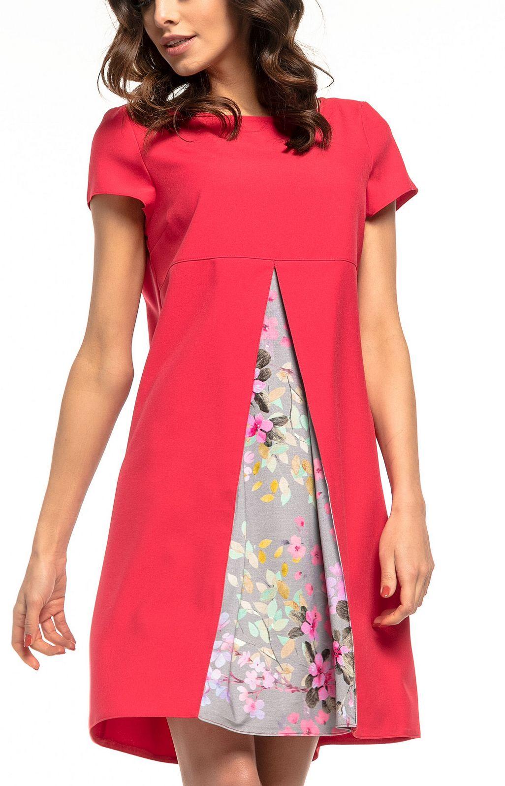 241c4d93808 Robe trapèze courte rouge imprimée fleurs Tess T262R   idresstocode  boutique  de déshabillés et nuisettes