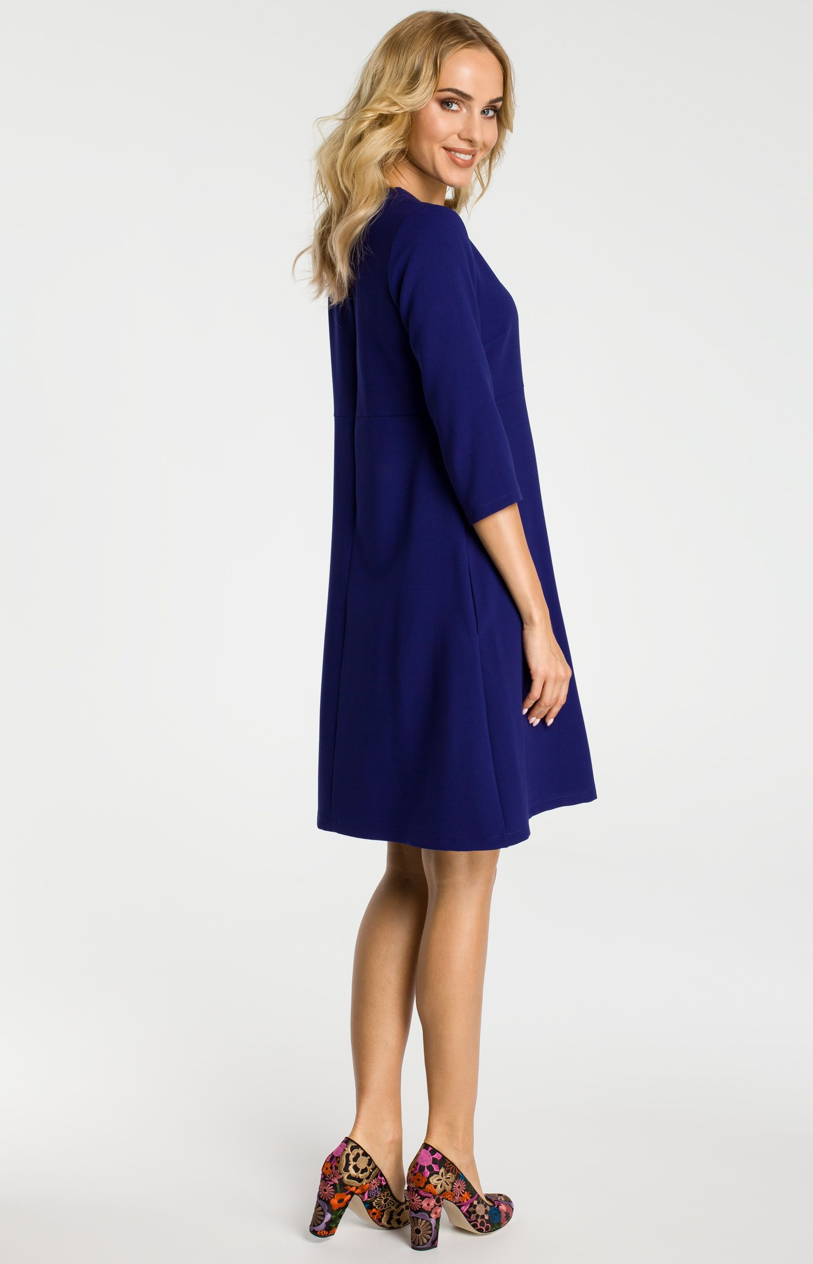 09ac85c6f24 Robe trapèze bleue manches 3 4 ME338B   idresstocode  boutique de  déshabillés et nuisettes