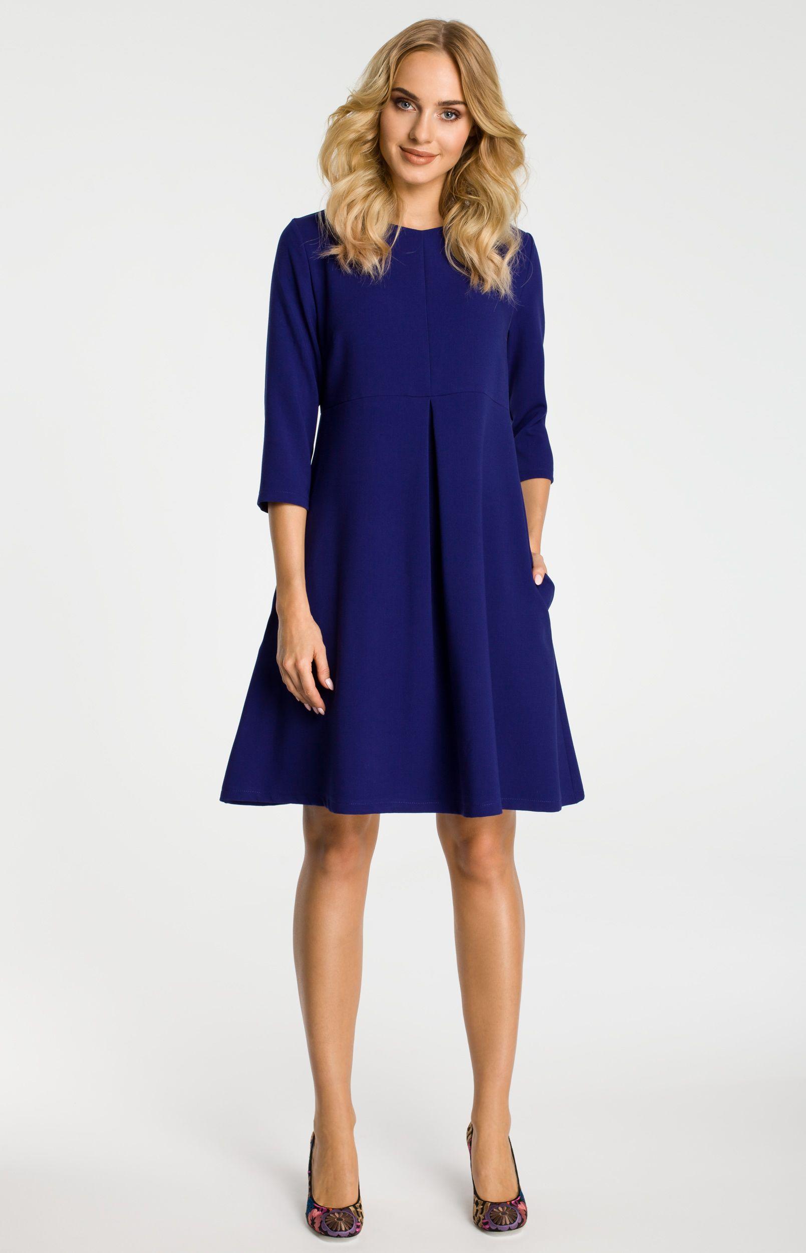 robe trap ze bleue manches 3 4 me338b idresstocode boutique de d shabill s et nuisettes. Black Bedroom Furniture Sets. Home Design Ideas
