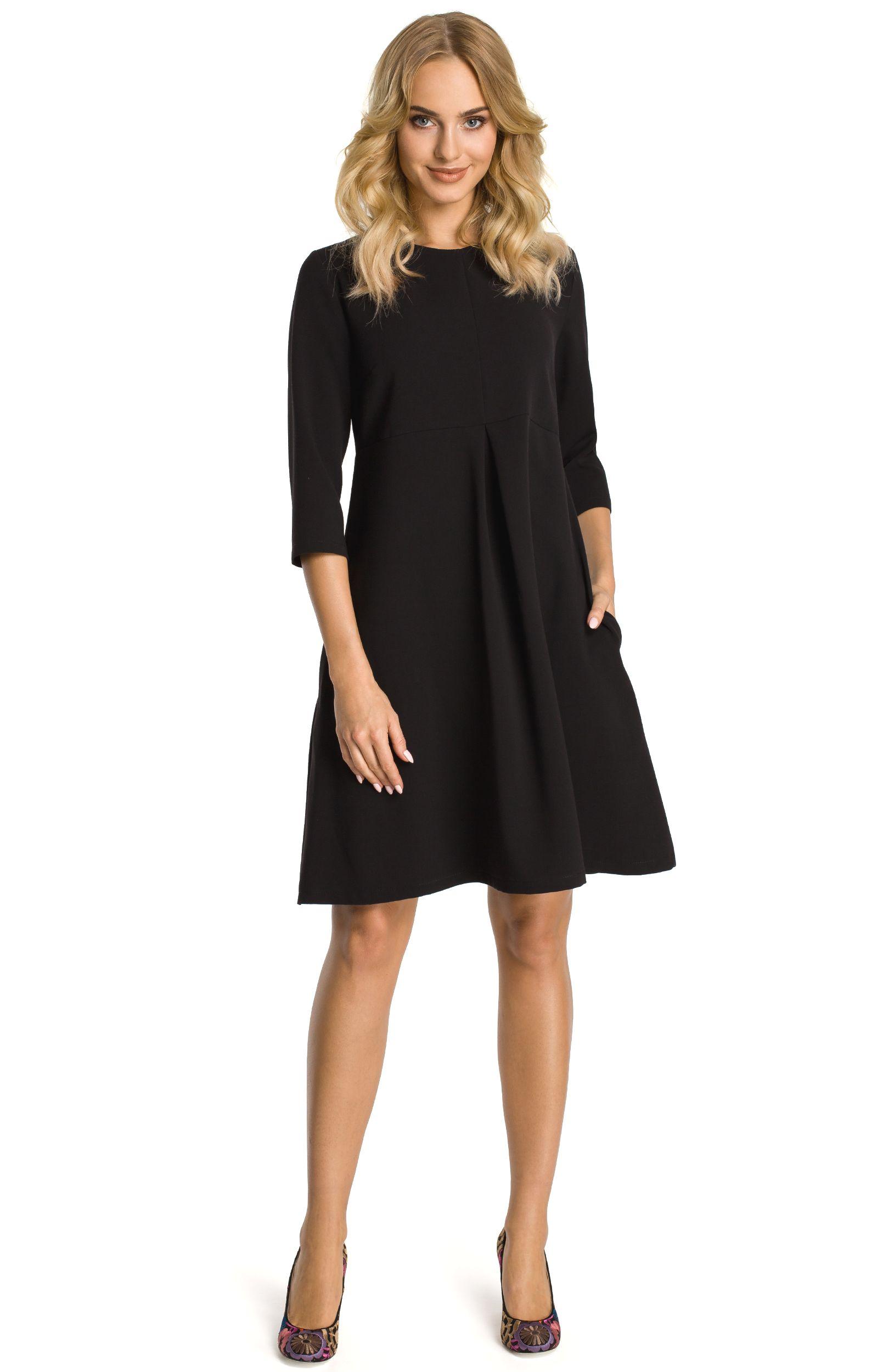 robe trap ze noire manches 3 4 me338n idresstocode boutique de d shabill s et nuisettes. Black Bedroom Furniture Sets. Home Design Ideas