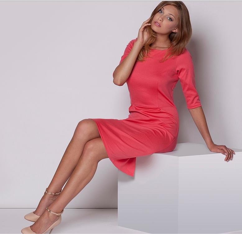 ec3f1a08473 robe droite manches mi longues corail FLM202C   idresstocode  boutique de  déshabillés et nuisettes