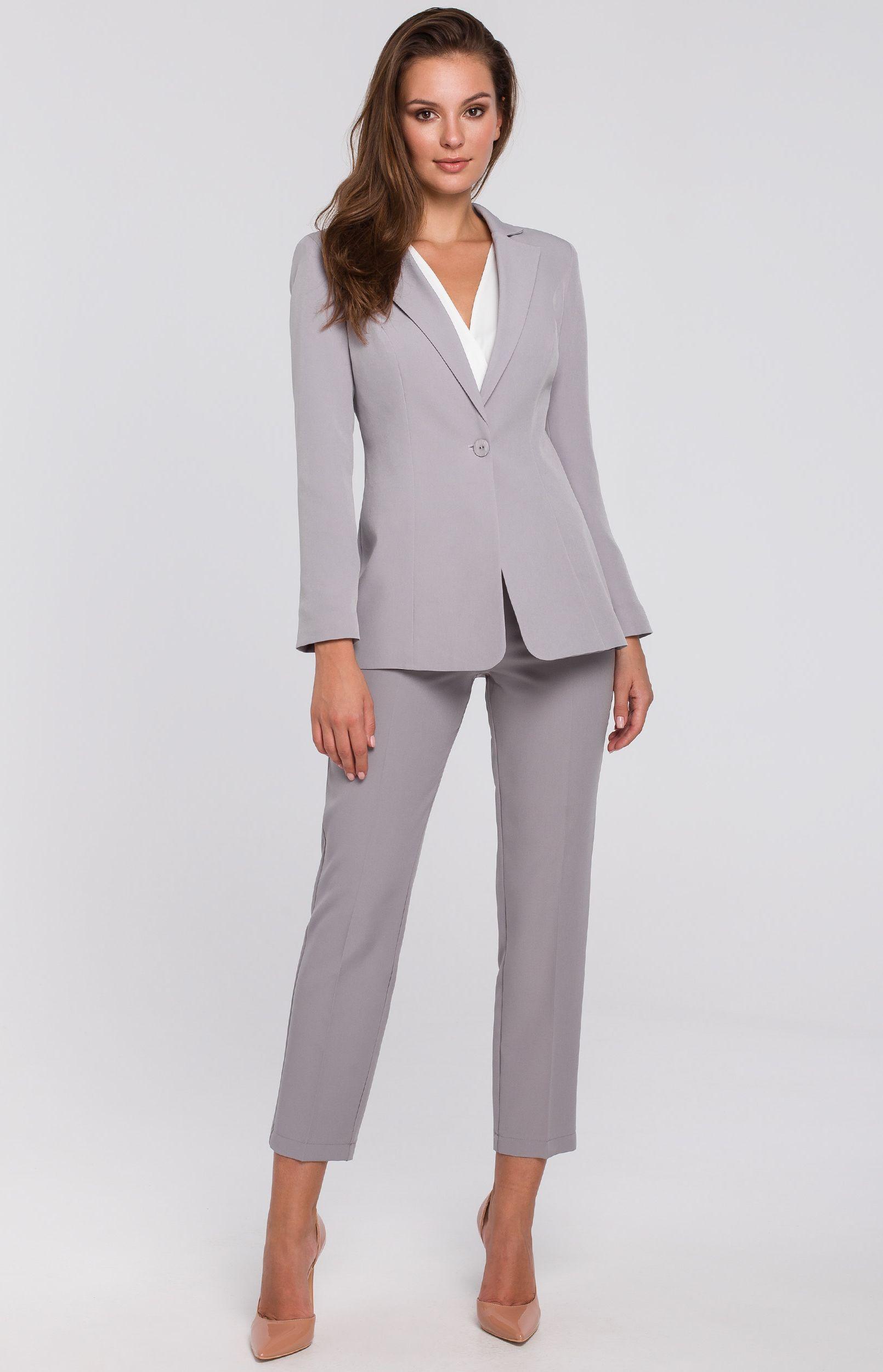Tailleur pantalon gris Makeover K03635G :