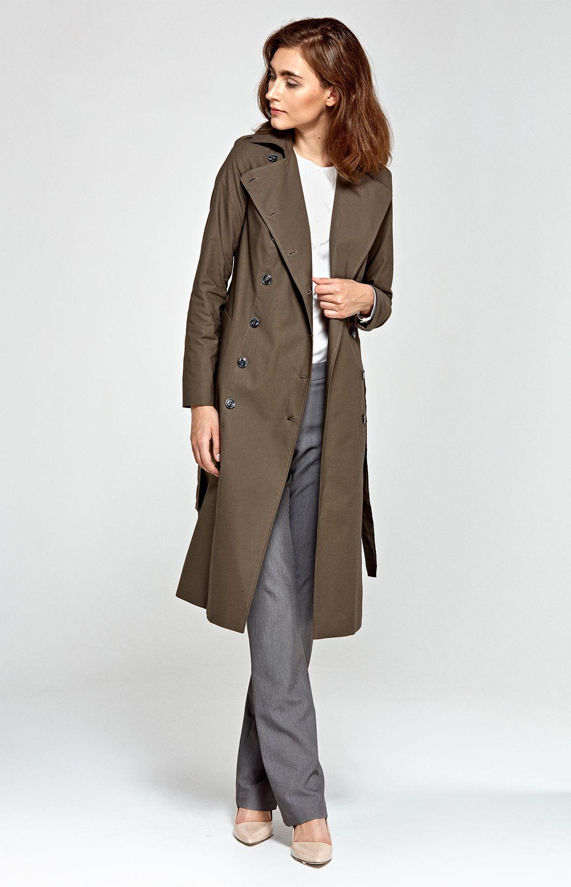 Manteau long femme kaki