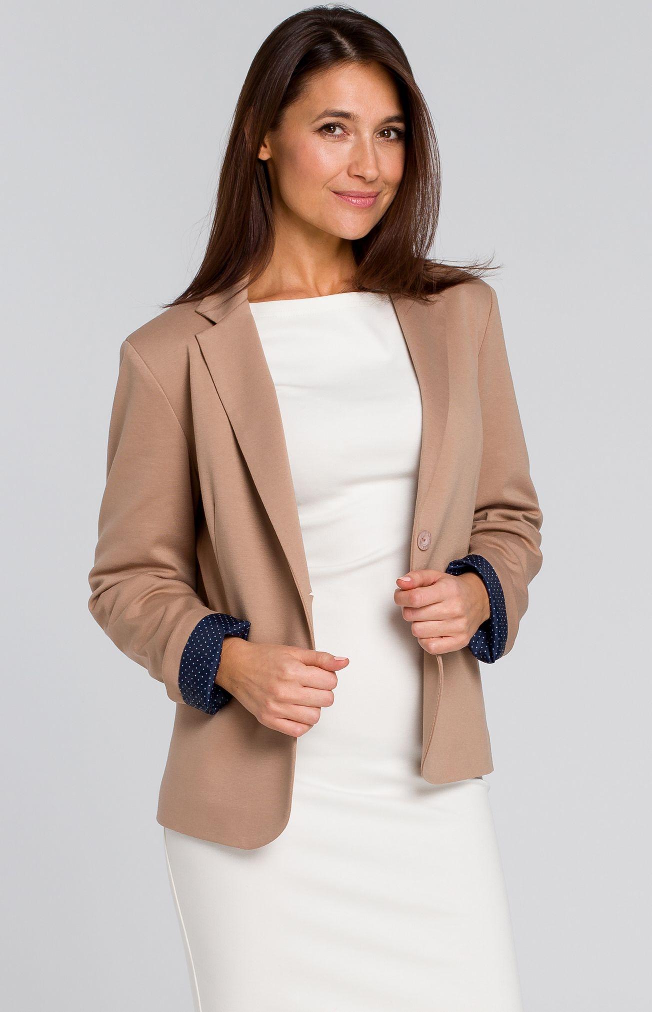 f51d78be99b Veste blazer 1 bouton beige Style S154BE   idresstocode  boutique de ...