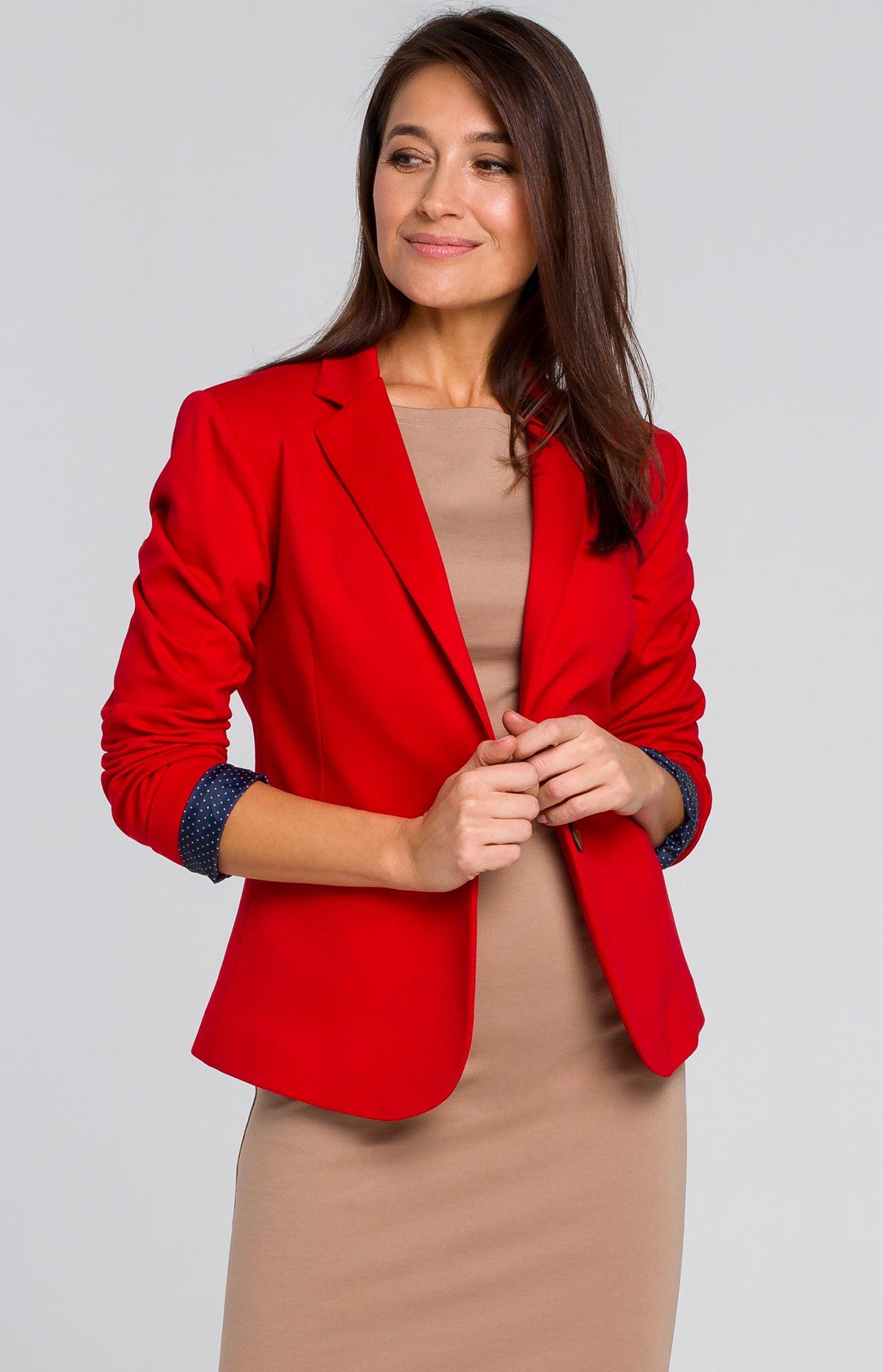 Veste blazer 1 bouton rouge