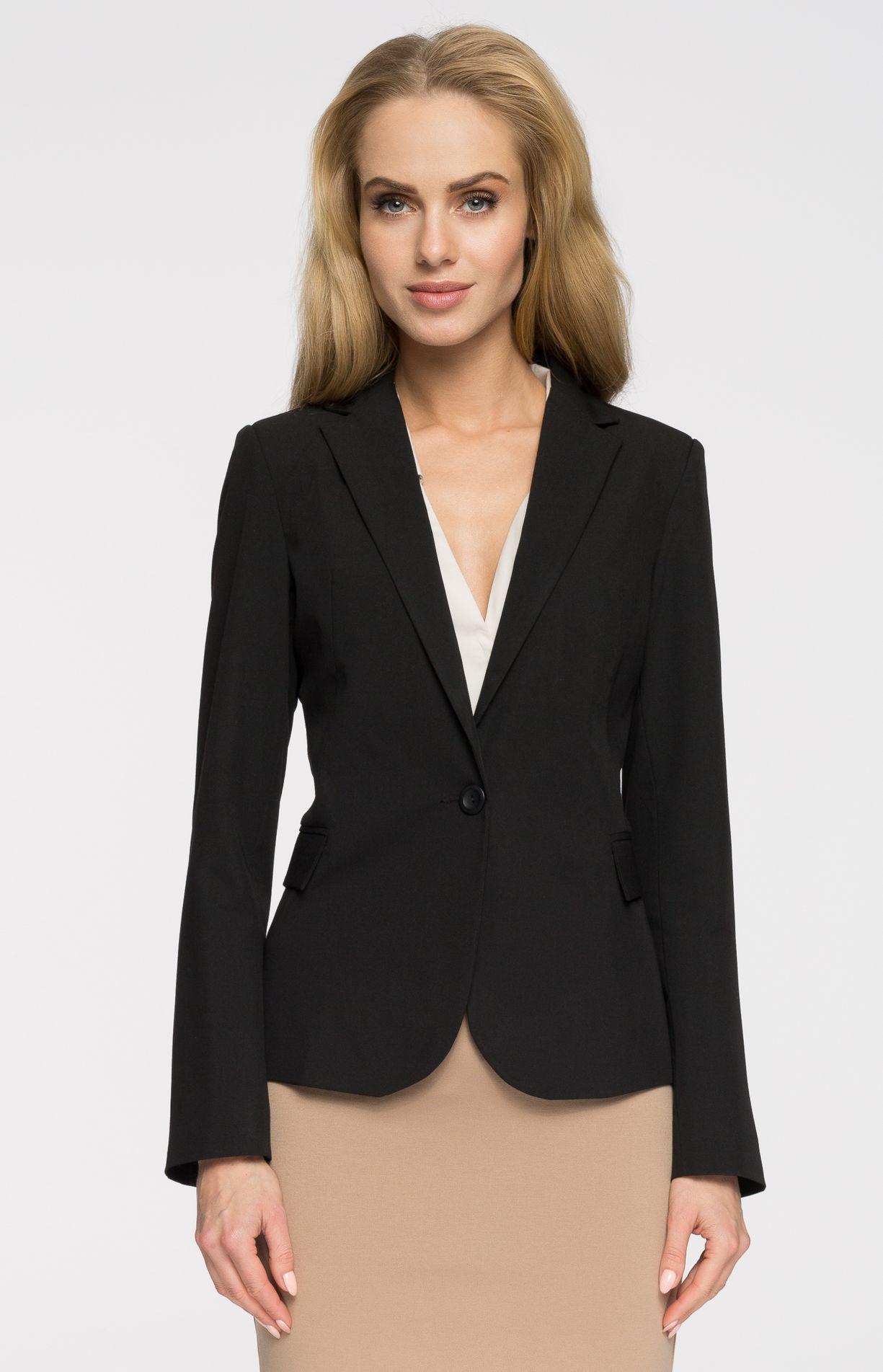veste femme 1 bouton noire style s005n idresstocode. Black Bedroom Furniture Sets. Home Design Ideas